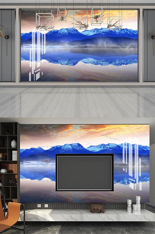 水墨画水墨山水电视背景墙-众图网