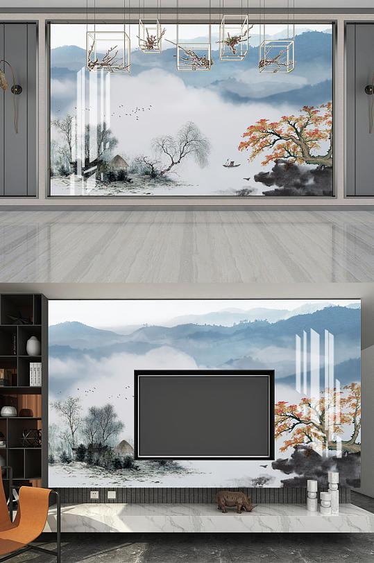水墨画水墨山水垂柳背景墙-众图网