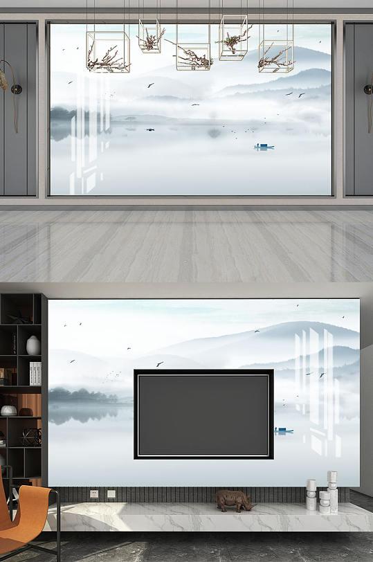 水墨画山水风景背景墙-众图网