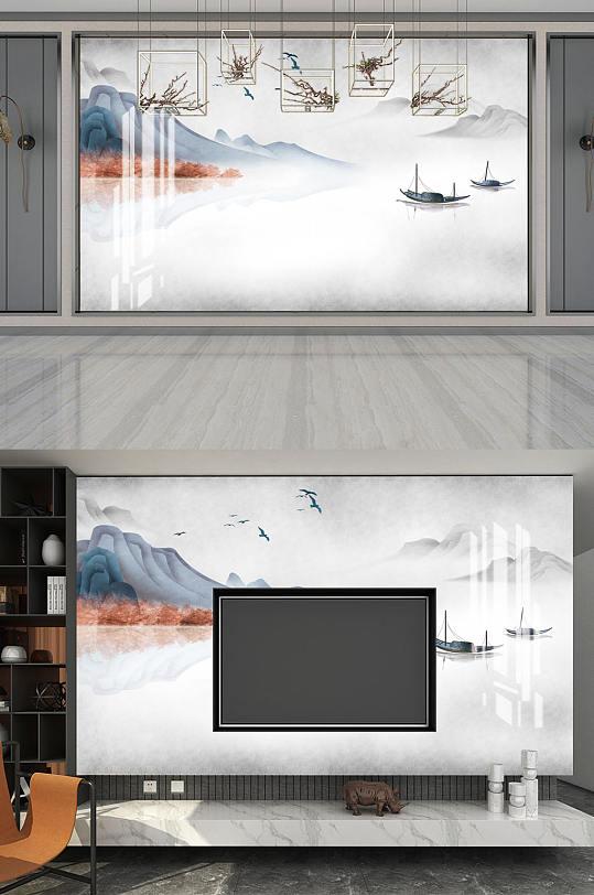 水墨画水墨山水小船背景墙-众图网