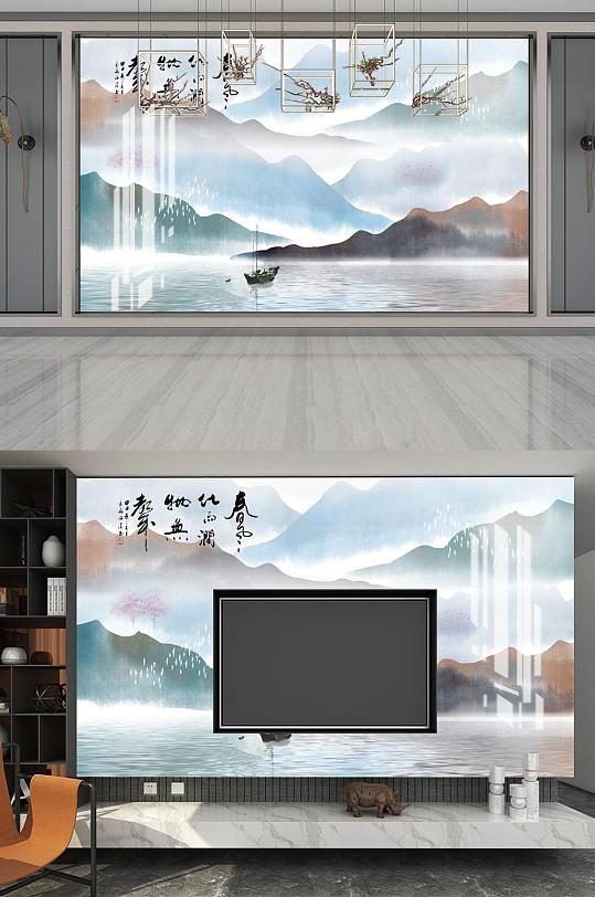水墨山水电视背景墙-众图网