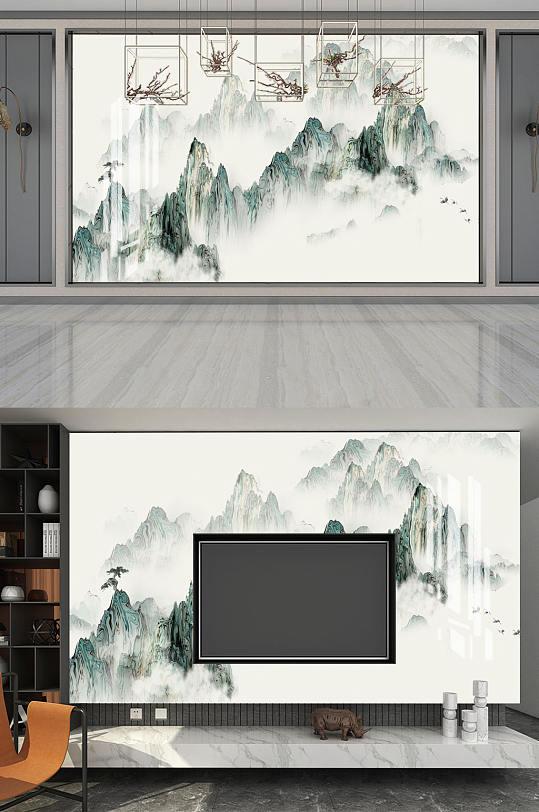 水墨画山水画背景墙-众图网