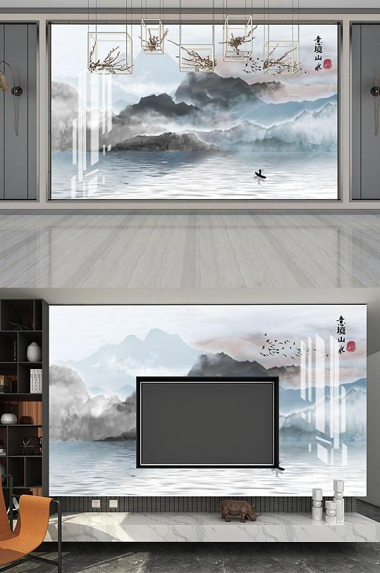 水墨画水墨山水背景墙-众图网