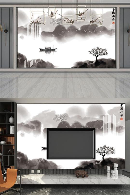 水墨画意境山水背景墙-众图网