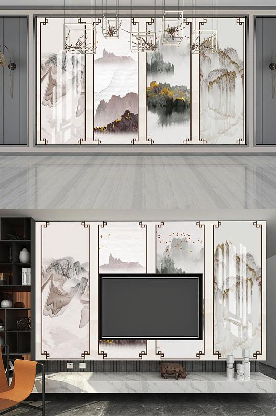 水墨画飞鸟背景墙-众图网