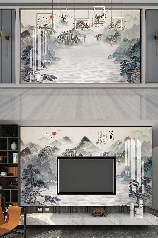 水墨山水山水情背景墙-众图网