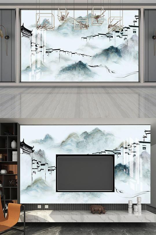 水墨画马头墙背景墙-众图网
