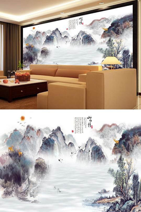 山水情鹤小船背景墙-众图网