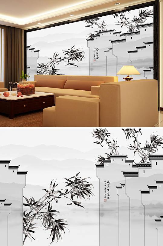水墨画竹子马头墙背景墙-众图网