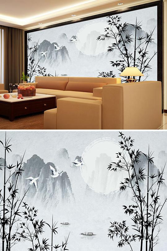 水墨山水竹子鹤背景墙-众图网