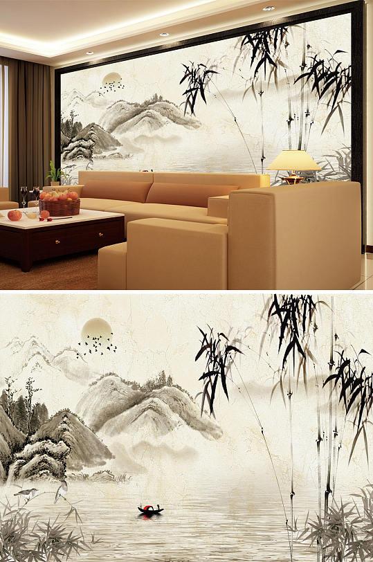 水墨山水竹子太阳背景墙-众图网