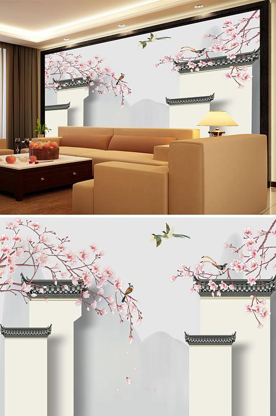 花鸟画玉兰马头墙背景墙-众图网