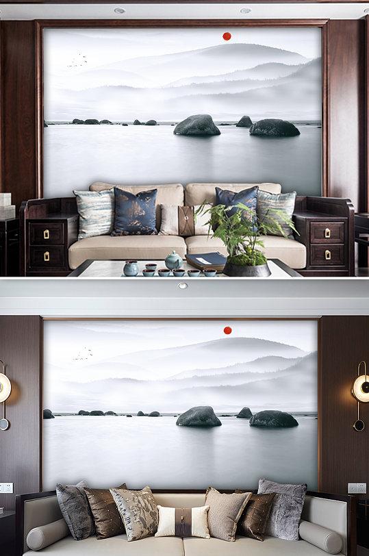 水墨山水风景背景墙-众图网