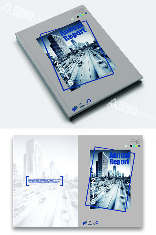 蓝色大气企业产品手册画册封面-众图网