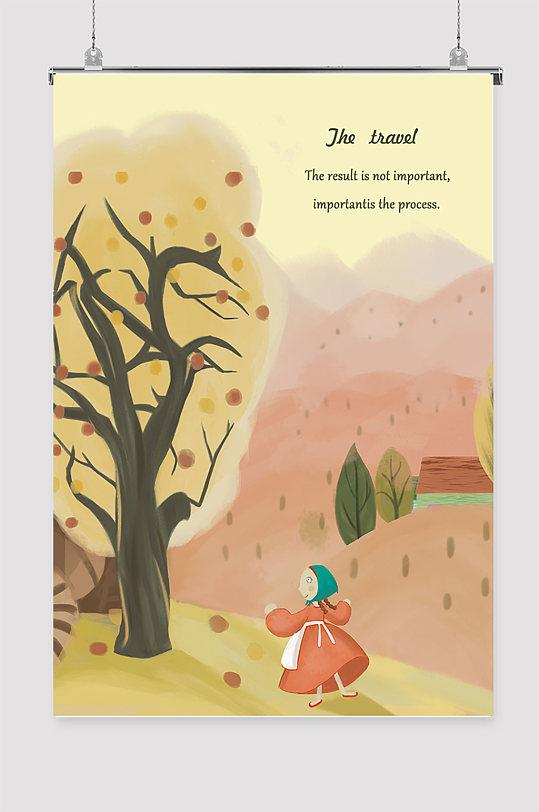 秋季扁平化日系插画海报-众图网