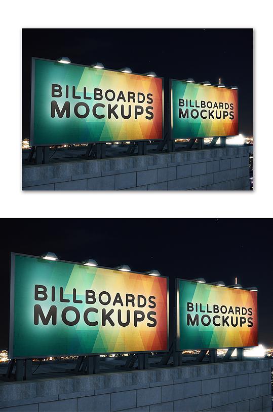 楼顶海报广告样机模板 造型展板