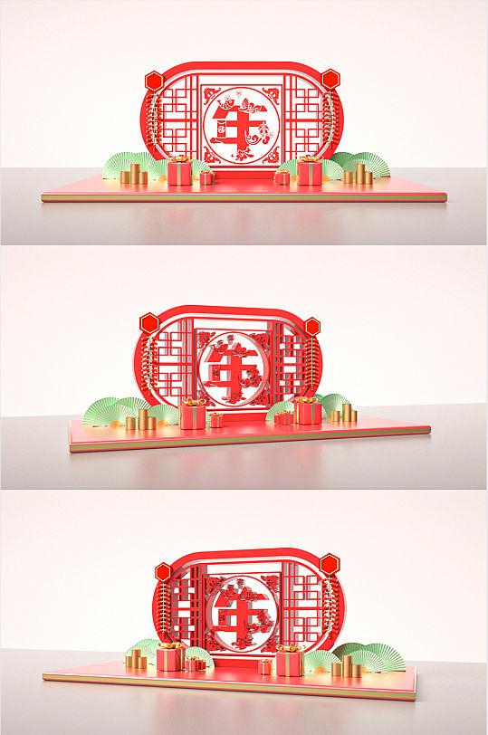 红色喜庆福气牛年春季美陈小景-众图网