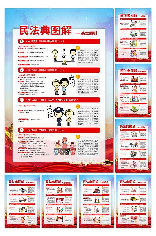 民法典宣传海报民法典展板-众图网