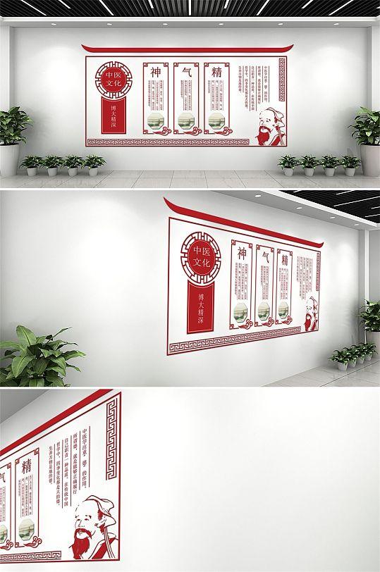 红色中国风大气中医文化墙-众图网