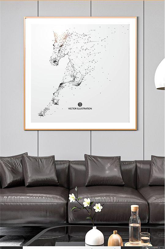 骏马奔腾客厅装饰画-众图网