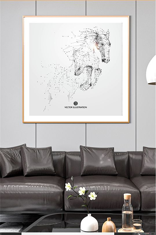 骏马奔腾矢量图装饰画-众图网