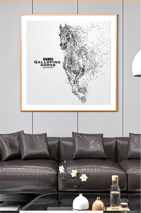 骏马矢量图大气装饰画-众图网