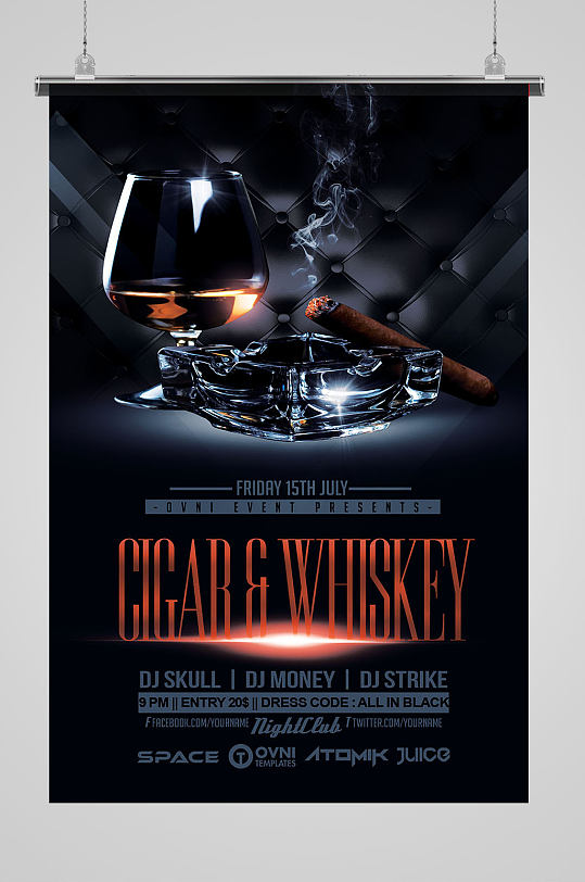 黑色酒杯酷炫海报-众图网