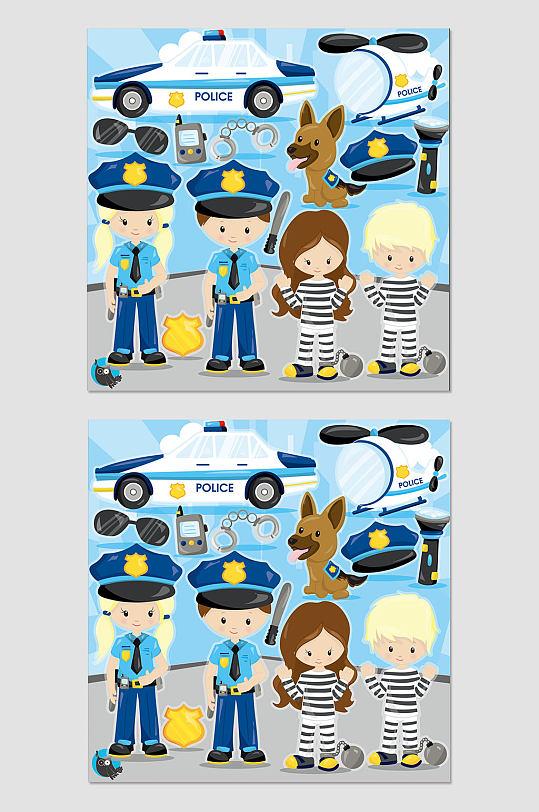 卡通警察罪犯素材-众图网