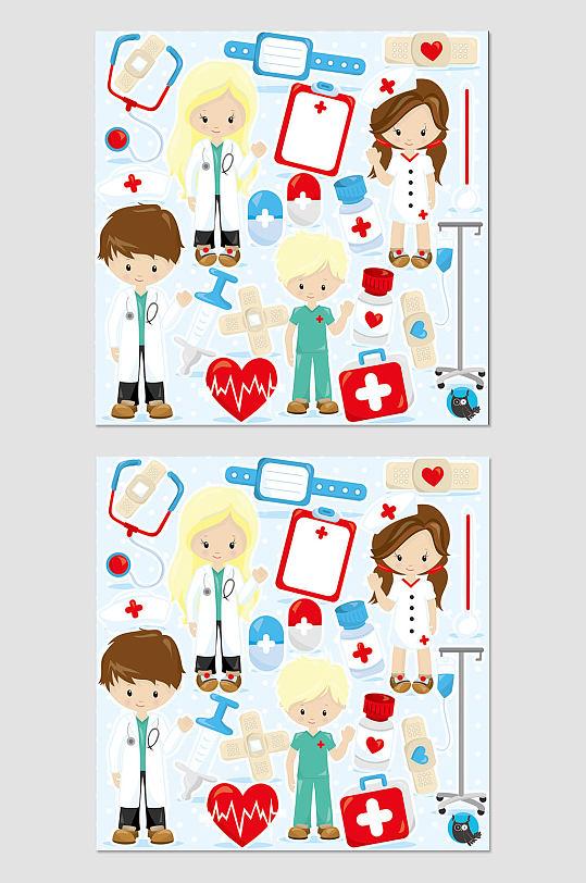 卡通医院医生素材-众图网