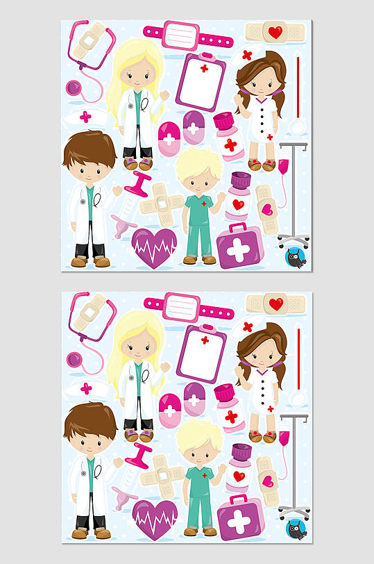 卡通医生护士素材-众图网