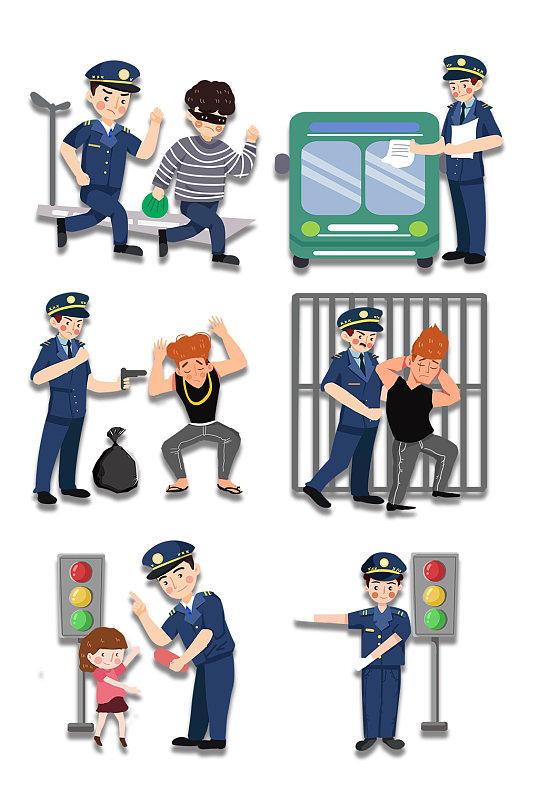 卡通公安警察扫黑除恶素材-众图网