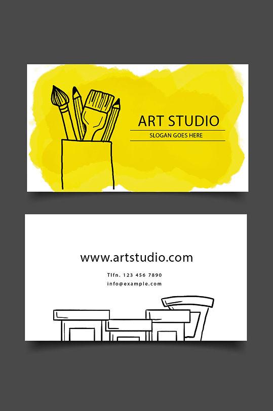 画笔颜料创意艺术名片-众图网