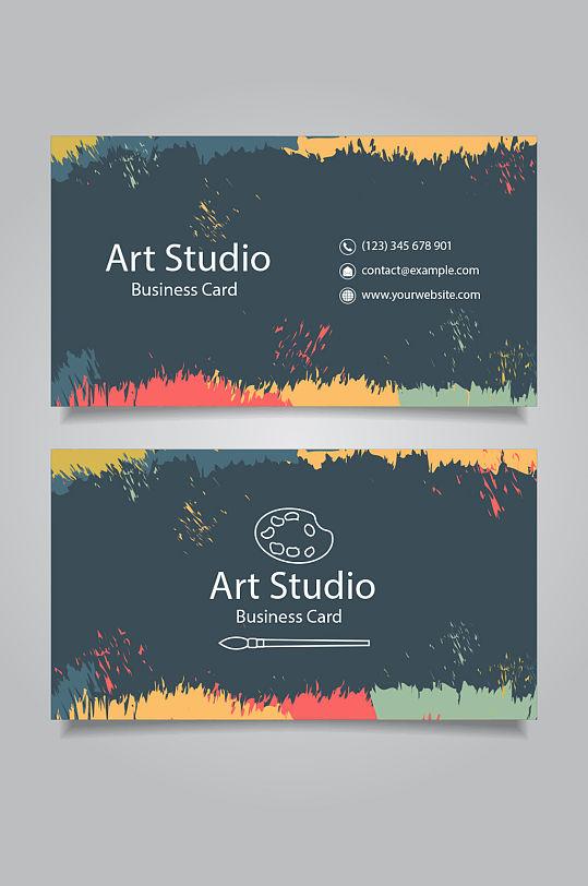 彩色颜料创意艺术名片-众图网