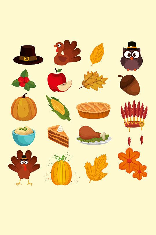 感恩节元素彩色图标-众图网