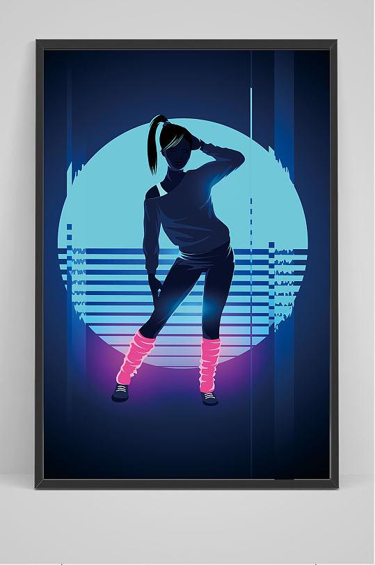 精品酒吧DJ女郎海报背景设计-众图网