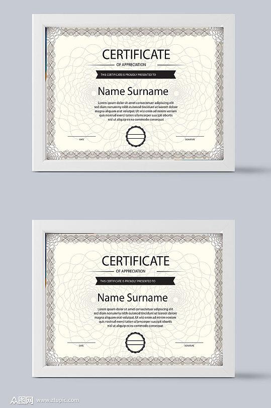 荣誉证书欧式设计-众图网