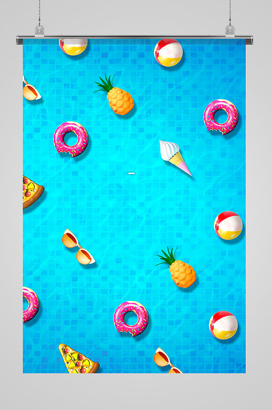 夏季甜甜圈冰激凌海报-众图网