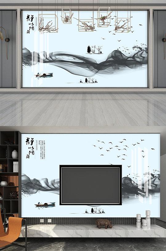 静水墨画小船电视背景墙-众图网