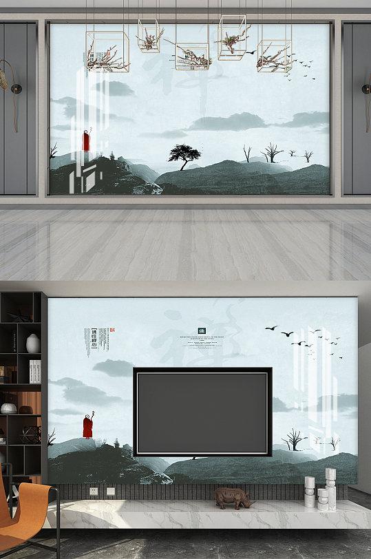 禅水墨画电视背景墙-众图网