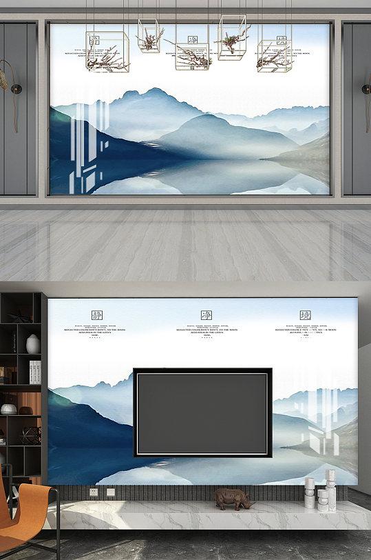 高端大气复古山水水墨画背景墙-众图网
