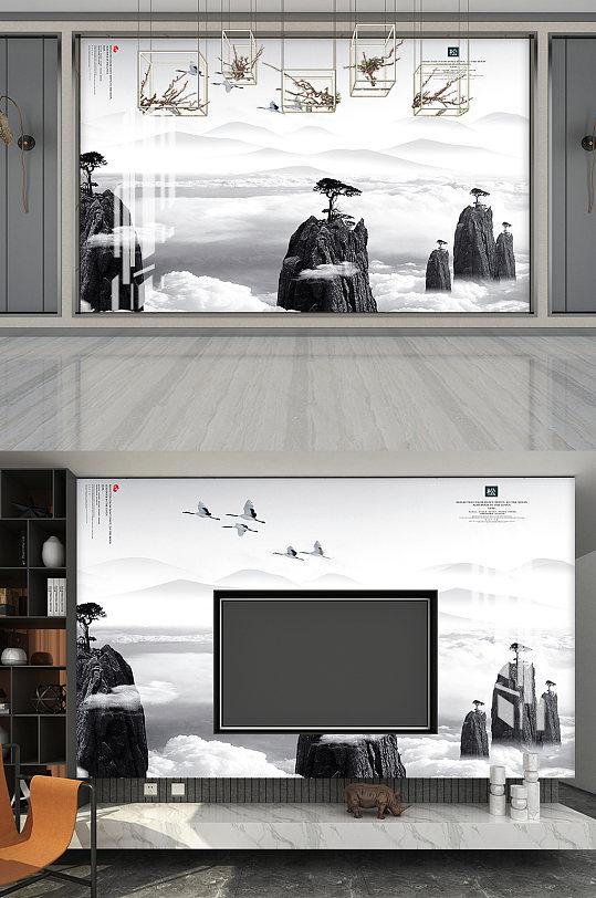 松树山鸟水墨画电视背景-众图网