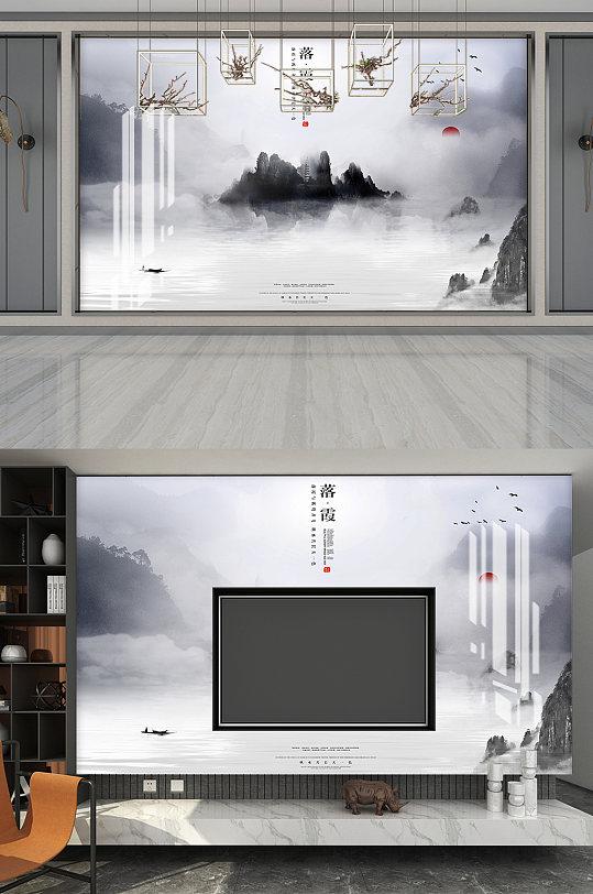 落霞水墨画电视背景-众图网