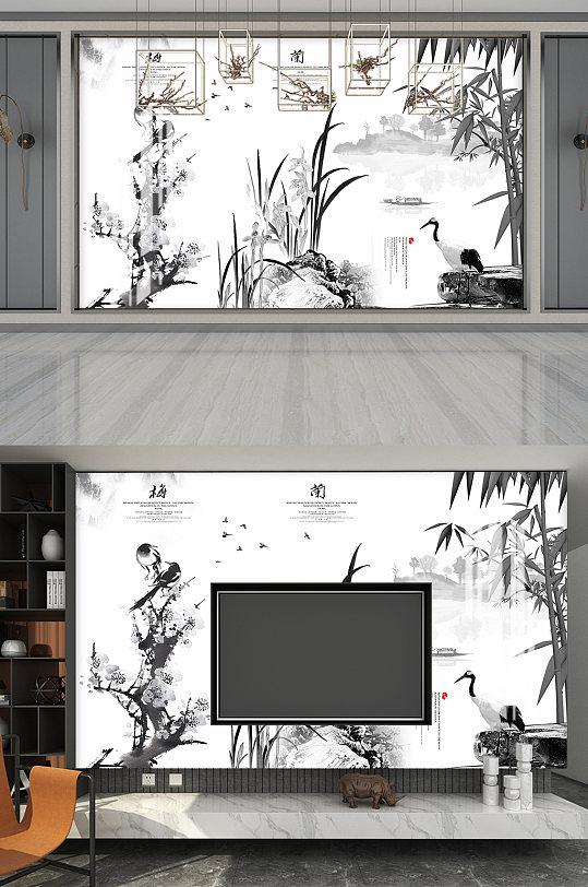 梅兰竹菊水墨画电视背景墙-众图网