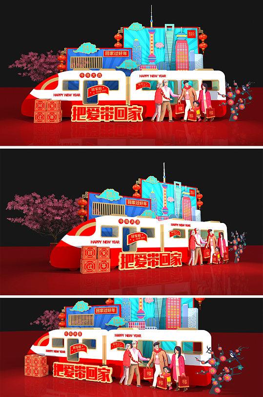 2021年春节春运动车牛年回家过年新年 高铁美陈-众图网