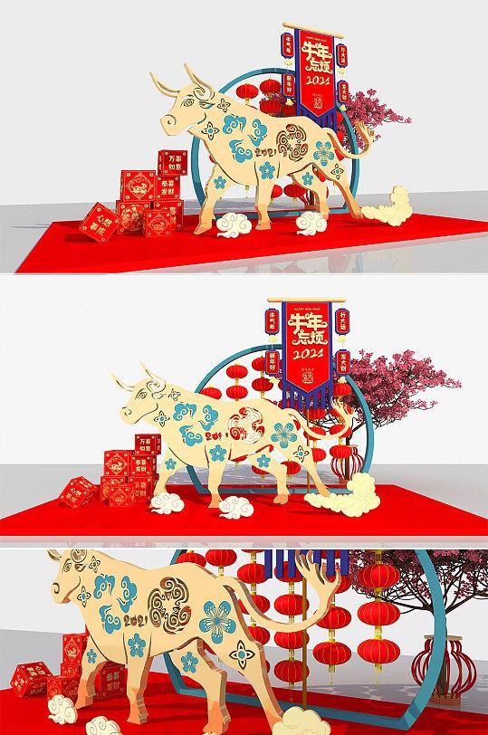 2021年牛年新年春节美陈堆头DP点-众图网