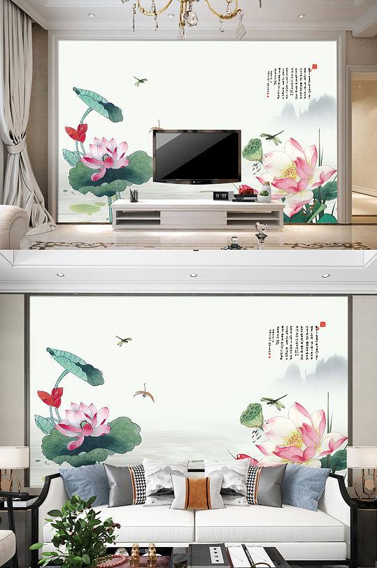 古典中国风荷花莲花浮雕装饰画背景墙-众图网