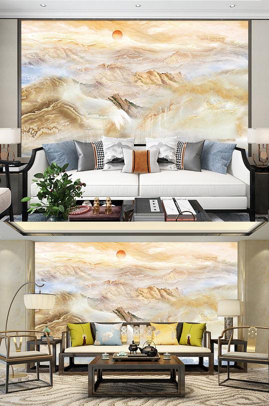 新中式山水画大理石背景墙-众图网