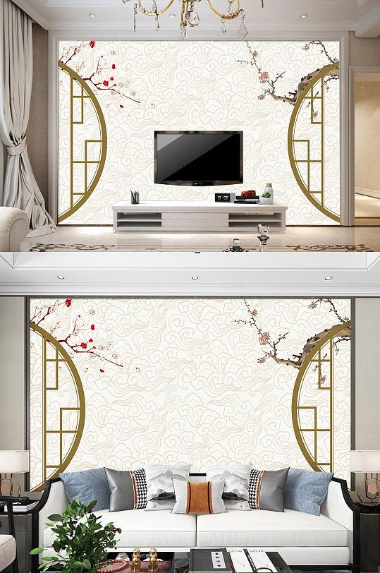 梅花电视背景墙古典装饰画-众图网