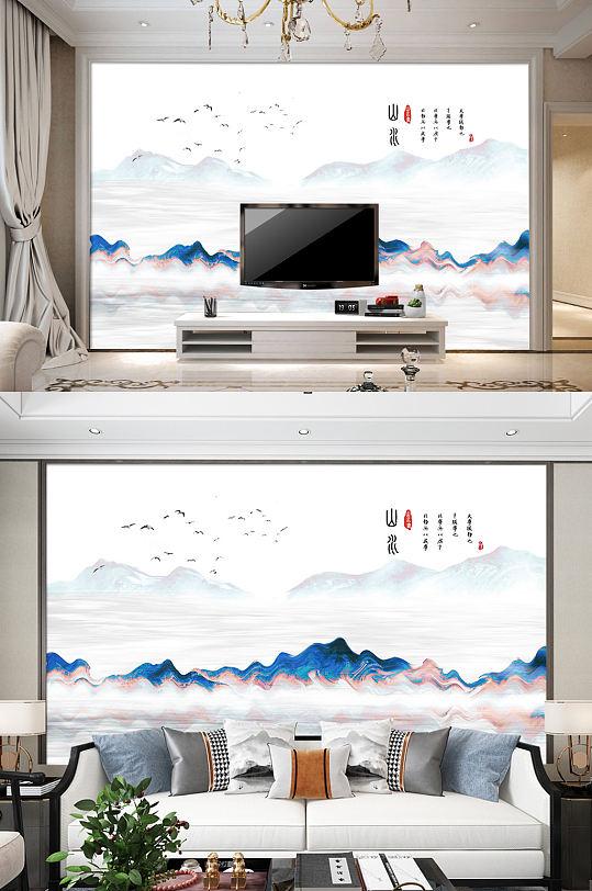 山水画电视背景墙山水装饰画-众图网