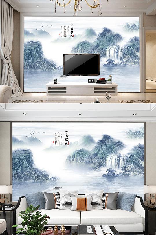 水墨画电视背景墙山水意境装饰画